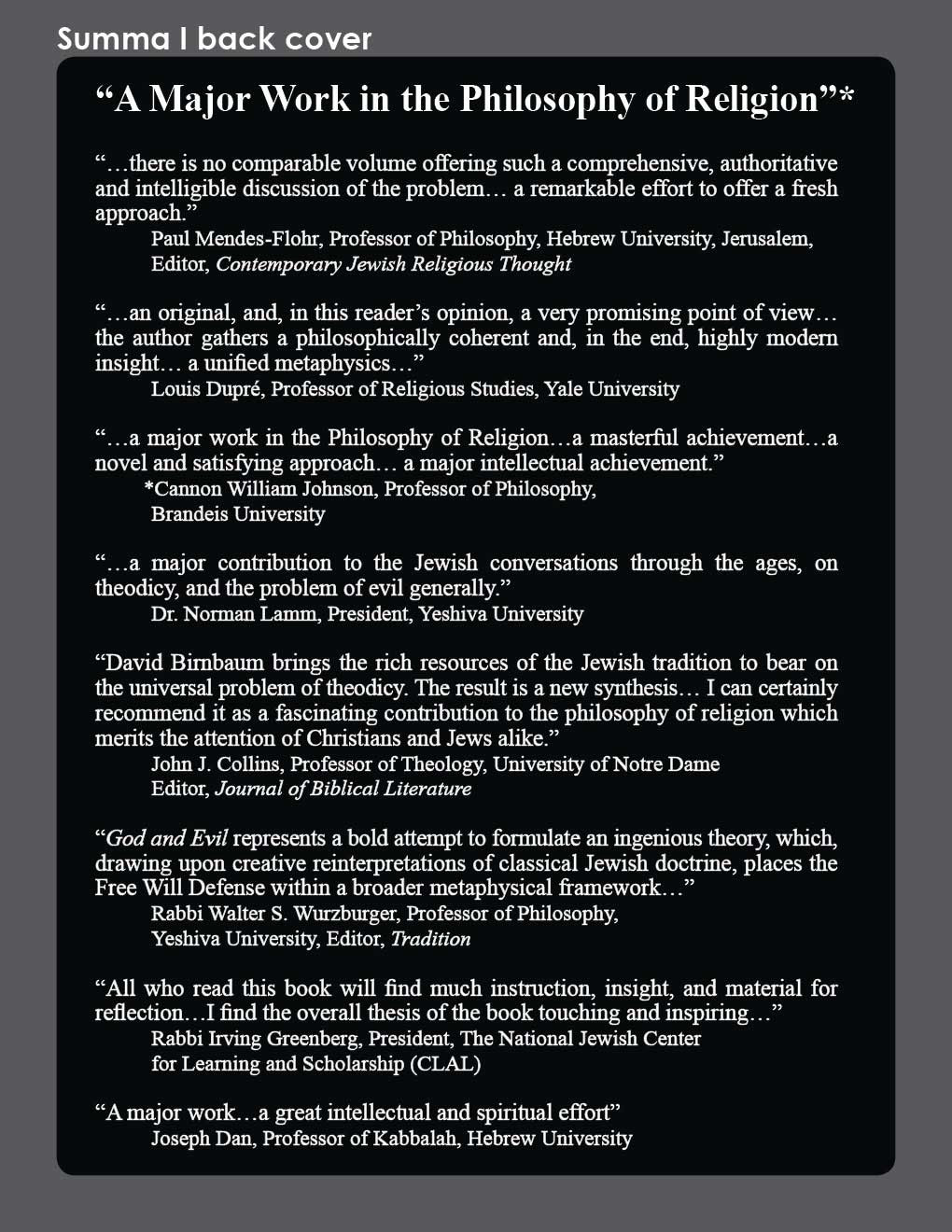 David Birnbaum Summa Metaphysica philosophy | Summa Metaphysica Book 1 Back cover. A Major Work in the Philosophy of Relgion