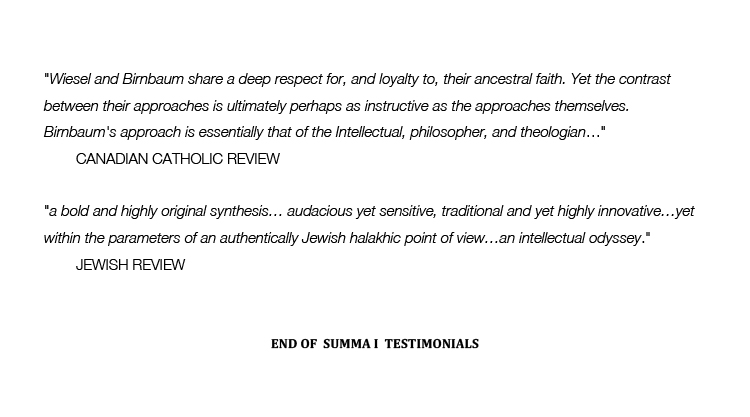 Testimonials on David Birnbaum Summa Metaphysica Philosophy Theory