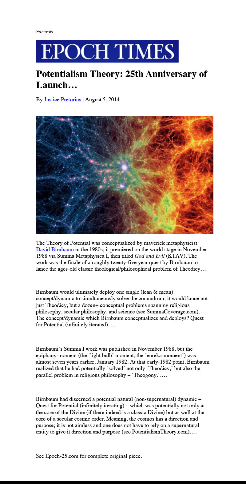 See intellectual revolutionary cosmologist David Birnbaum's philosophy - metaphysics on creation, big bang and  teleology - cosmic purpose....