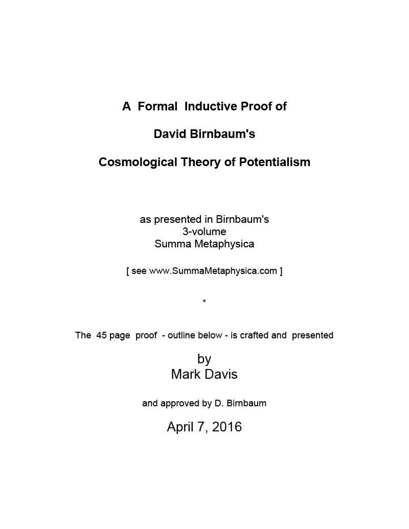 A Formal Inductive Proof of David Birnbaum's Cosmological Theory of Potentialism-2
